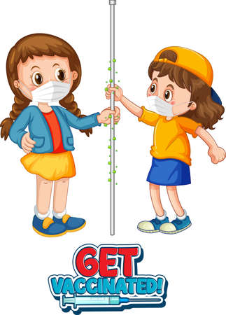 Two kids cartoon character do not keep social distance with Get Vaccinated font isolated on white background illustration Vektoros illusztráció