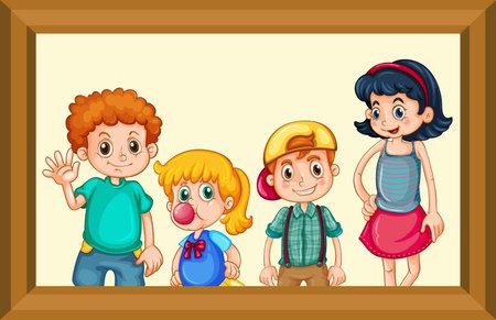Best friends picture on wooden frame illustration 向量圖像
