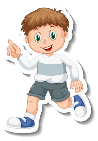 Sticker template with a boy cartoon character isolated illustration