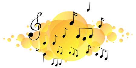 Musical melody symbols on yellow splotch illustration