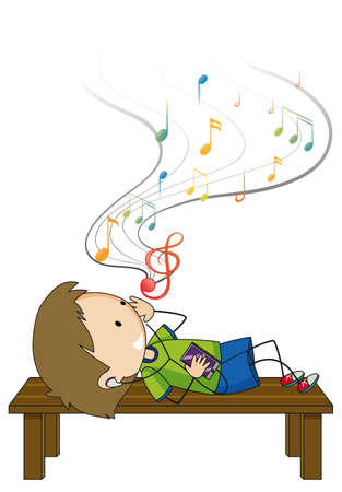 Doodle cartoon character of a boy listening music while laying on brench illustration