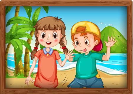 Best friends picture on wooden frame illustration