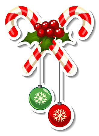 Sticker template with Cross Candy Cane isolated illustration