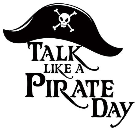 Talk Like A Pirate Day logo with a pirate hat on white background illustration