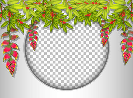 Round frame transparent with tropical leaves template illustration
