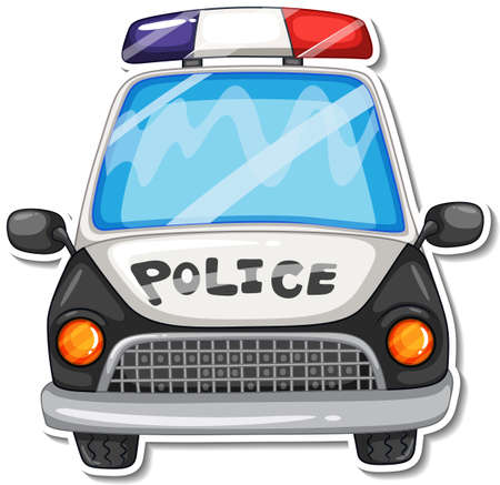 Sticker design with front view of police car isolated illustration