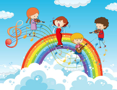 Happy kids with music melody symbols in the sky with rainbow illustration Vektorové ilustrace