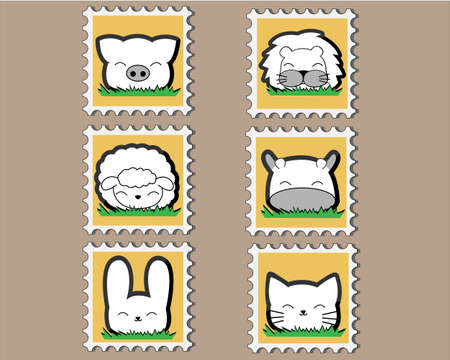 Cute little Animal Stamp set Vector