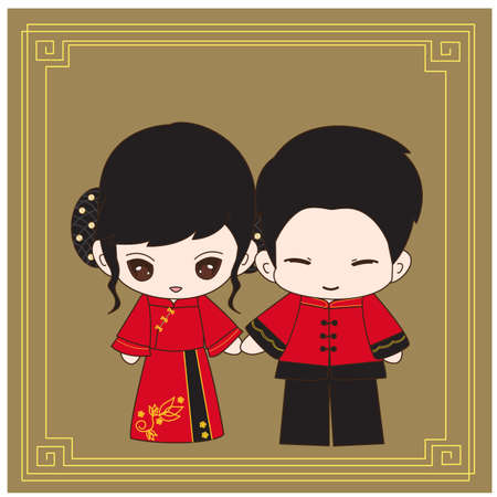 asian wedding couple: Cute cartoon Chinese couple wedding costume