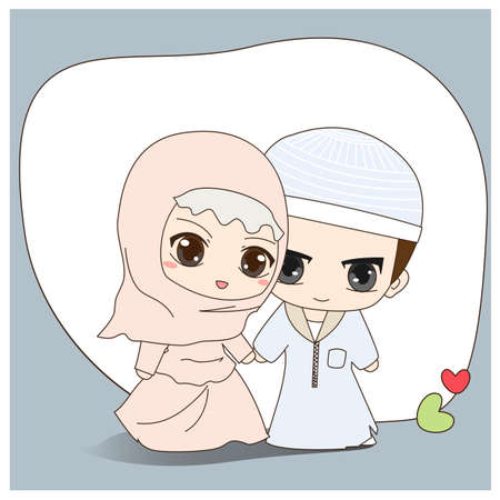 Cute cartoon Muslim couple wedding costume Vector