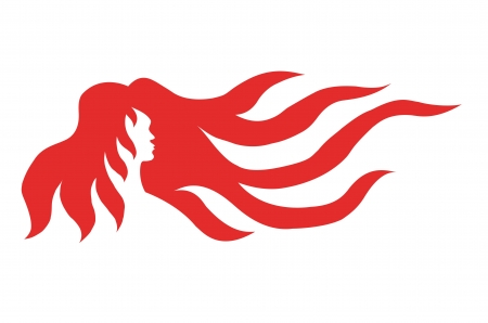 long red hair: silhouette drawing of a woman with long red hair