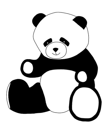illustration of a panda bear in black and white