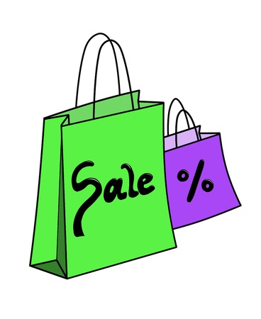 article of clothing: illustration of green and purple shopping bag