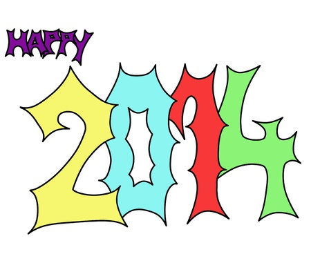 letters in different colours saying happy 2014
