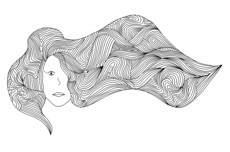 illustration of women with long hair blowing on the wind in black and white Фото со стока