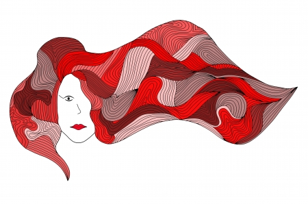 illustration of women with long red hair blowing on the wind Фото со стока
