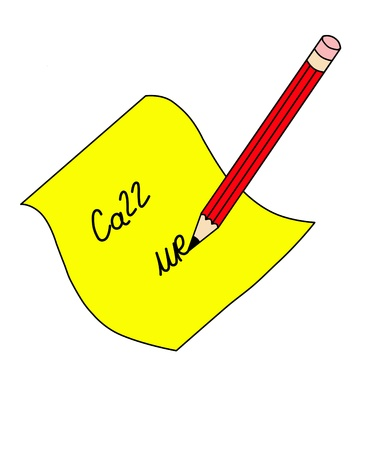 illustration of a note  call me  written with red pencil on a yellow piece of paper