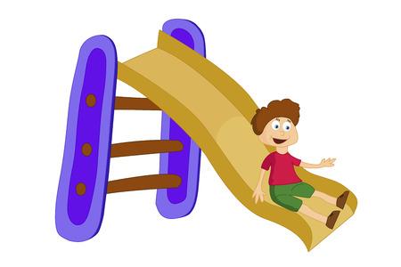 infancy: vector illustration of a boy sliding down the slide Illustration