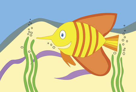 striped colored fish swimming between seaweed in the sea illustration
