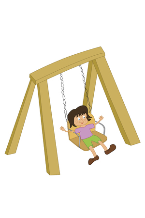 vector illustration of a child on a swing playing