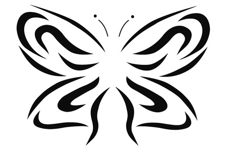 line art vector illustration of a butterfly in black and white Иллюстрация