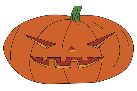 ominous: vector illustration of a Halloween pumpkin with carved scary face