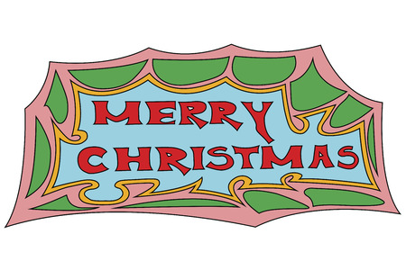 vector illustration of a colorful merry Christmas sign