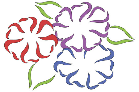 vector illustration of flowers in different colors with black outline