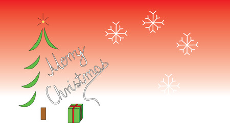 vector illustration of a Christmas concept with a tree and snowflakes