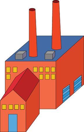 Vector Illustration of Red Factory with Two Chimneys