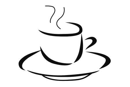 alimentary: Vector illustration of hot cup of coffee in black and white Illustration