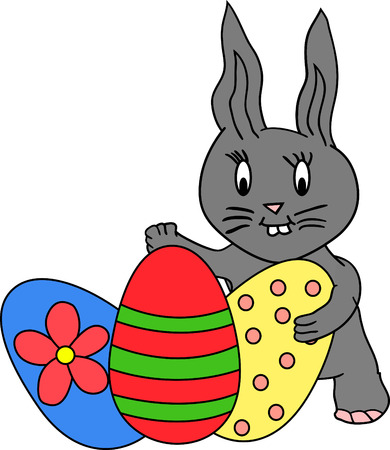 Grey bunny hiding behind tree colourful easter eggs