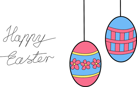 illustration of two eggs hanging with happy easter sign