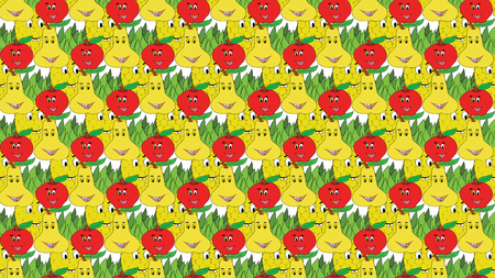 apple pear and pineapple colorful pattern on white background Иллюстрация