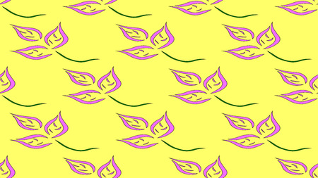 Purple and green blossom pattern on yellow background