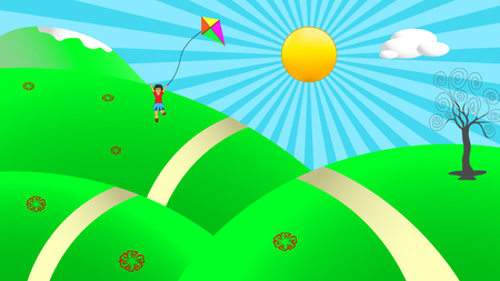 Illustration of beautiful sunny day in nature with happy child running around