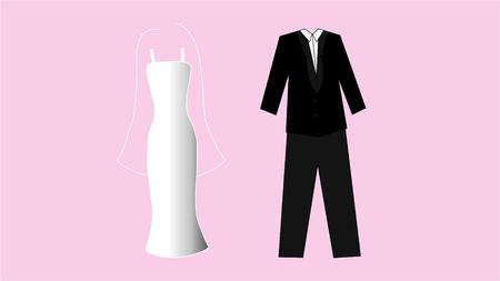 Illustration of white wedding dress and black suit on pink background Иллюстрация