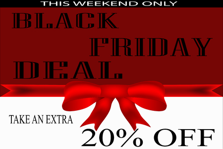 illustration for black friday flyer, poster in red and white with red bow