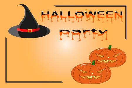 Template for Halloween party invitation on orange background Иллюстрация
