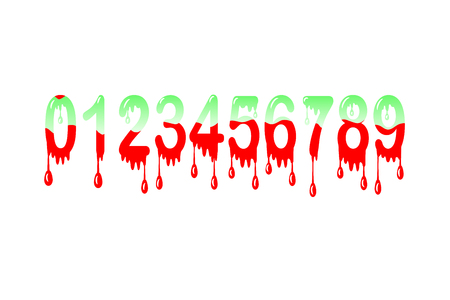 vector illustration of custom made font numbers from zero to nine