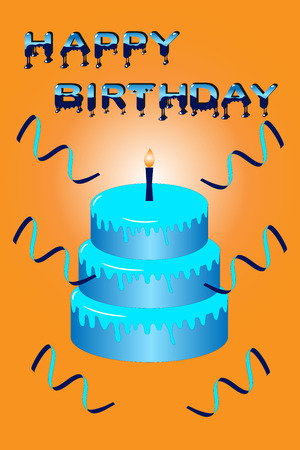 Blue cake with candle and letters saying happy birthday on orange background