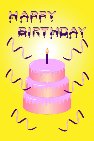 Pink cake with candle and letters saying happy birthday on yellow background