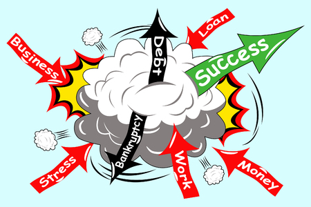 Vector illustration of concept struggle to make your business successful Иллюстрация