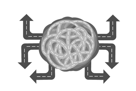 Illustration of knot forming road with arrows pointing different directions