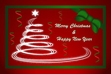 Illustration of Christmas tree withe snow flakes on red background with Christmas message Иллюстрация
