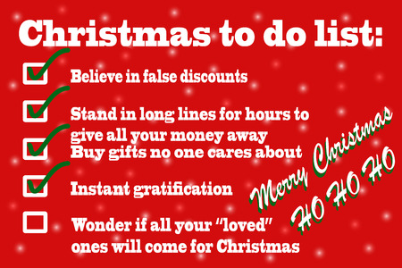 Illustration of sarcastic Christmas to do list on red background with snowflakes
