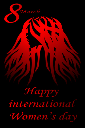 Illustration of a woman silhouette on black background with greeting message