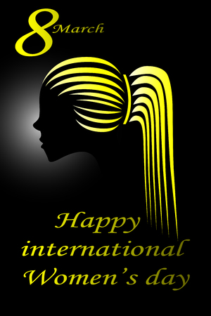 Illustration of a yellow woman silhouette on black background with greeting message