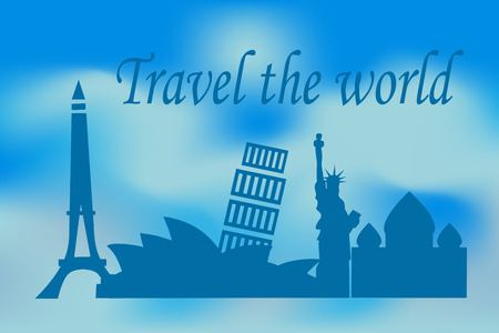 Illustration of travel the world concept with historical buildings Фото со стока - 121968545