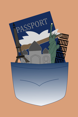 Illustration of pocket with historical buildings and passport ready to travel the world Иллюстрация
